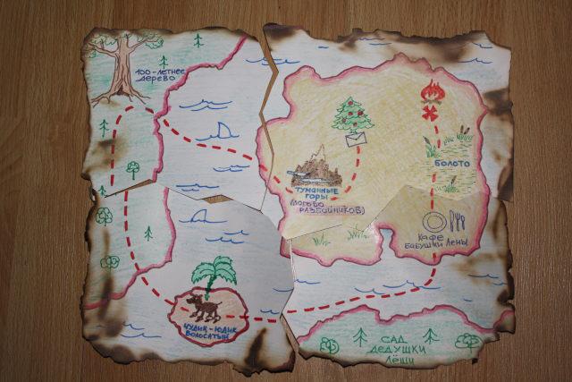 Нарисовать карту спрятанных подарков